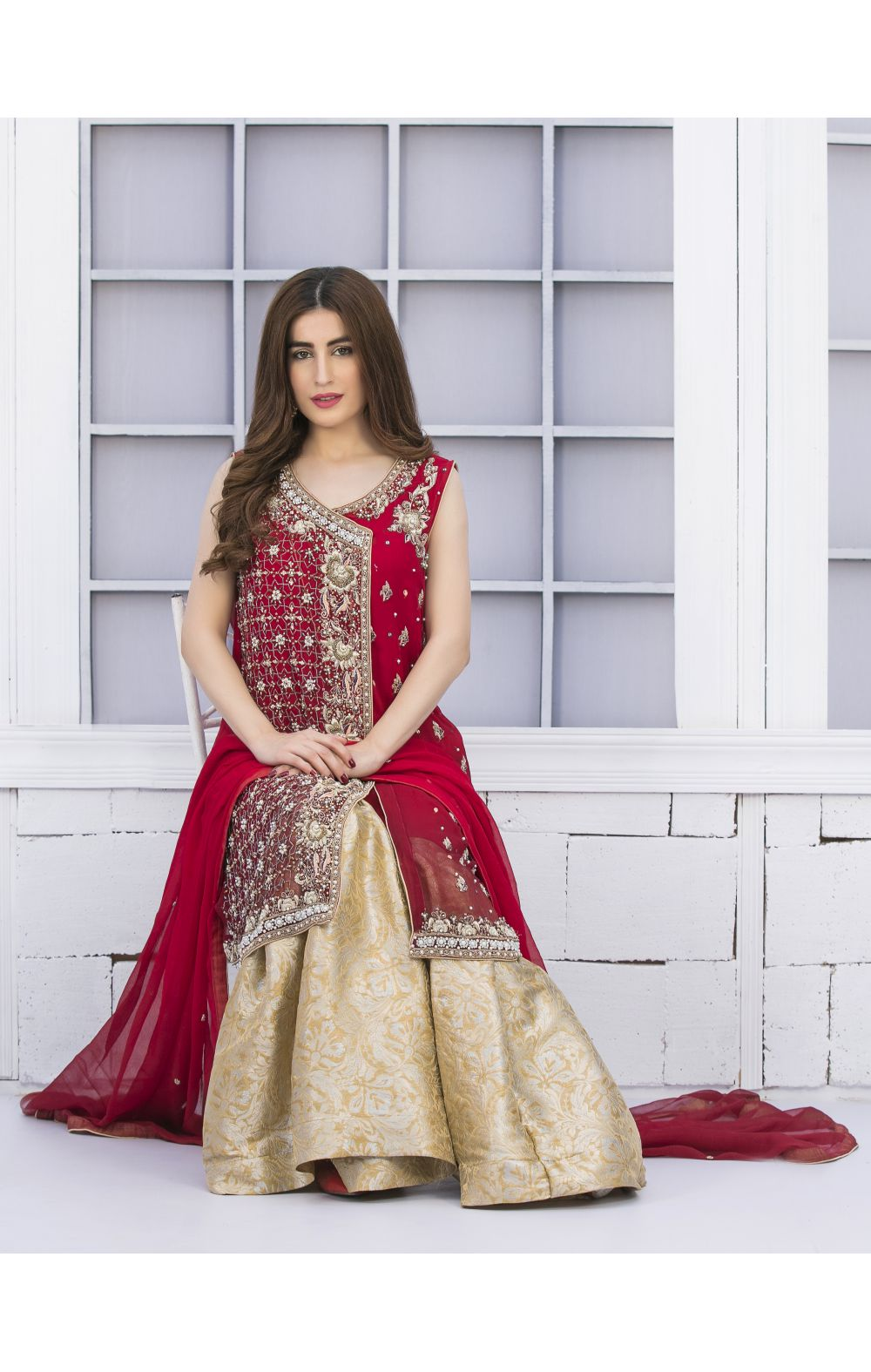 Buy Exclusive Red And Golden Bridal Wear – G15042 Online In USA, Uk & Pakistan - 02