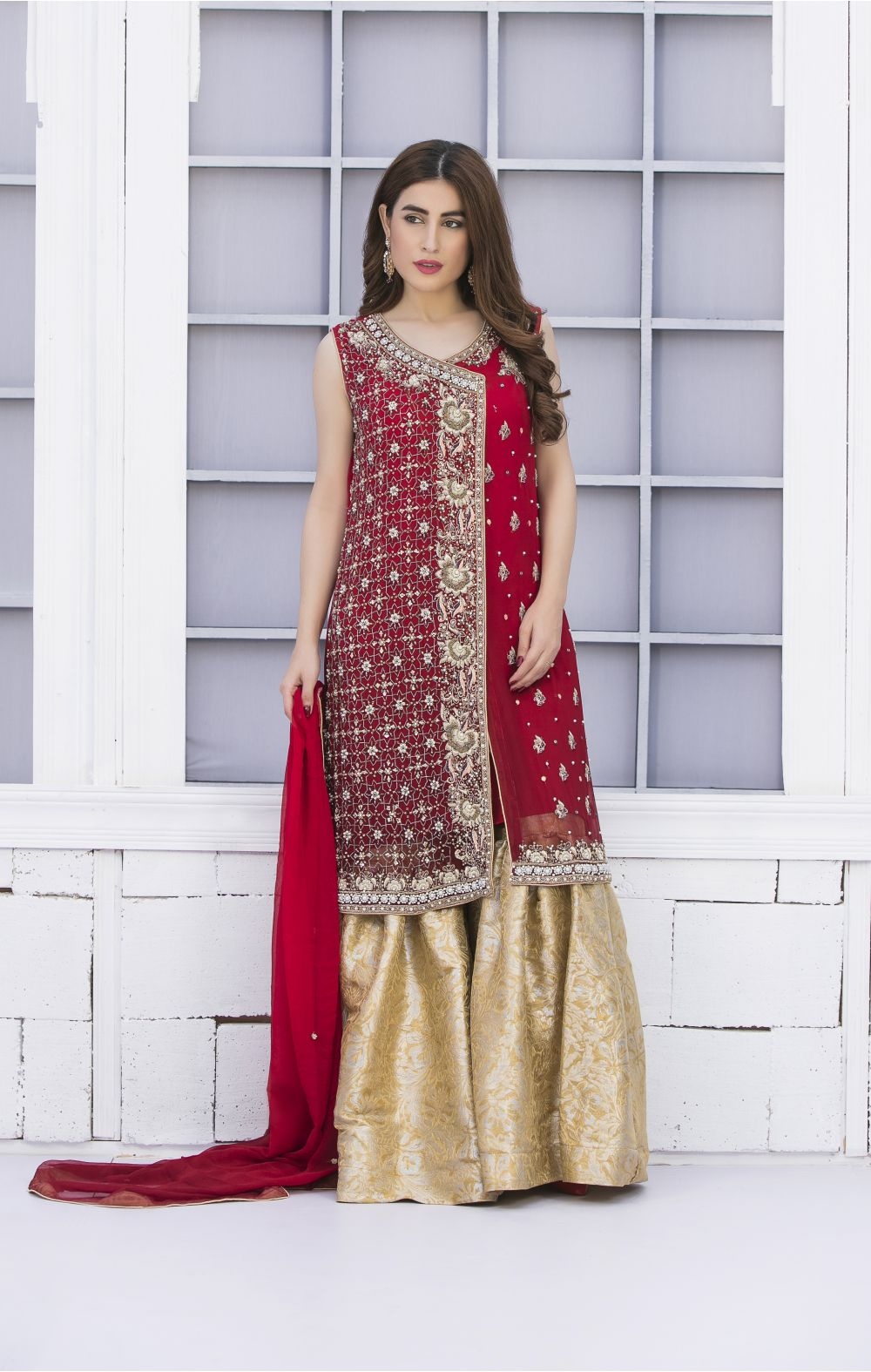 Buy Exclusive Red And Golden Bridal Wear – G15042 Online In USA, Uk & Pakistan