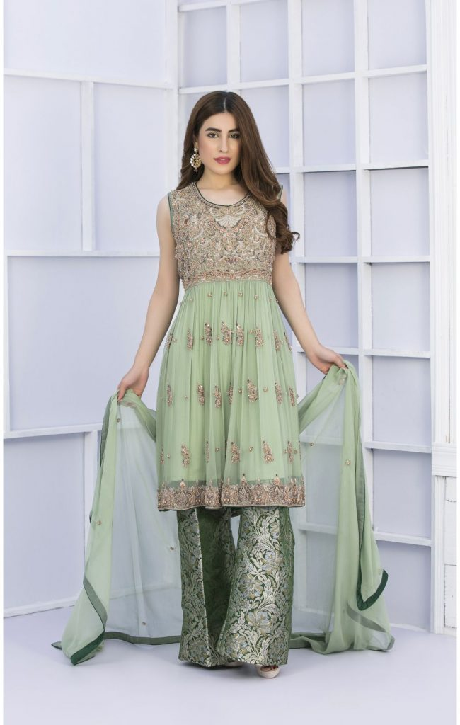 Buy Exclusive Pista Green And Bottle Green Bridal Wear – G15127 Online In USA, Uk & Pakistan - 04