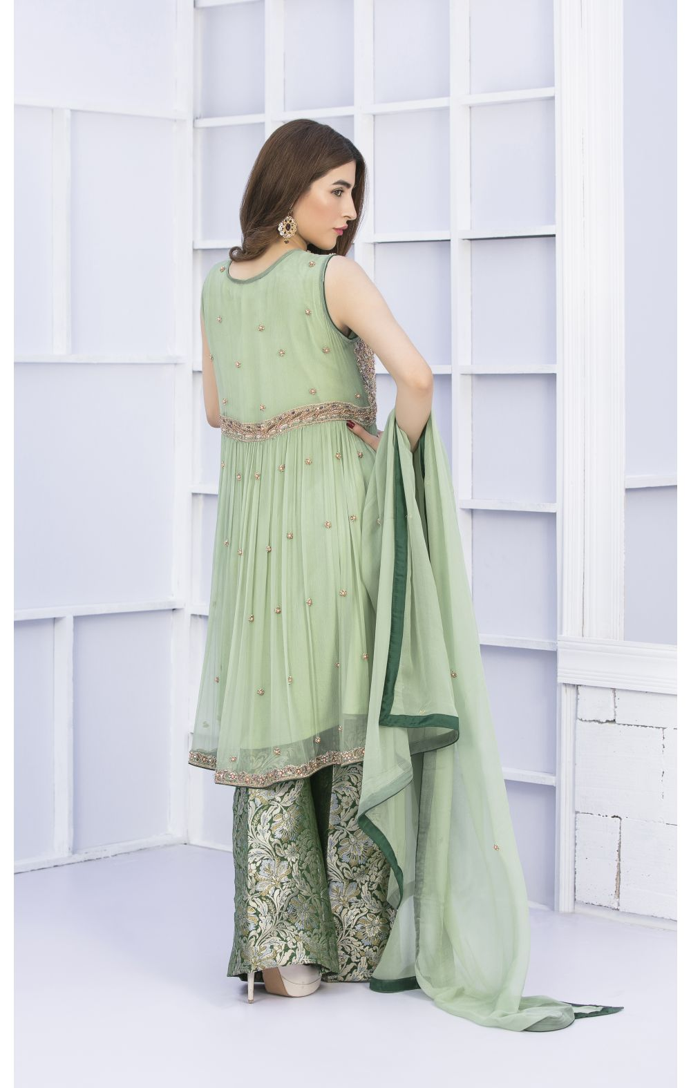 Buy Exclusive Pista Green And Bottle Green Bridal Wear – G15127 Online In USA, Uk & Pakistan - 01