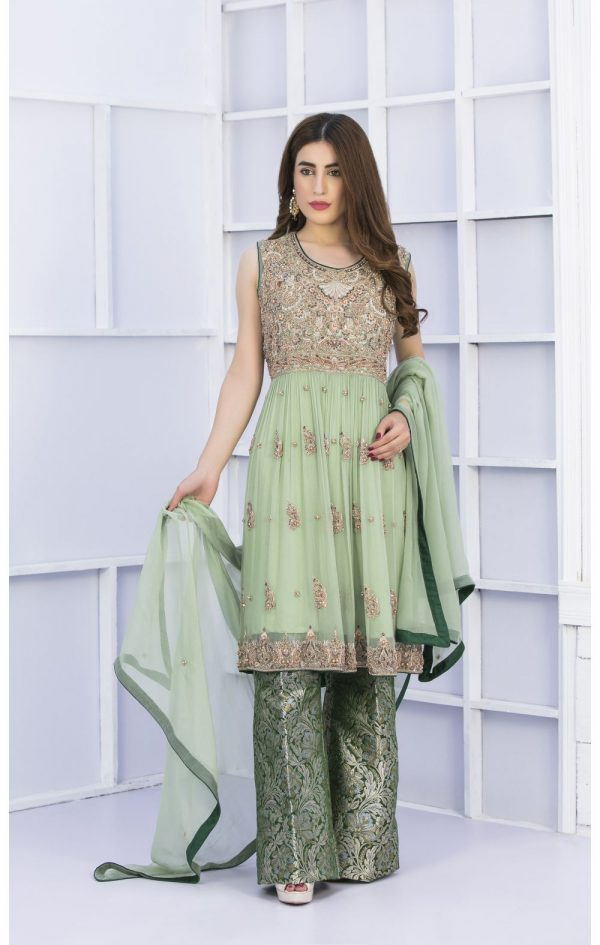 Buy Exclusive Pista Green And Bottle Green Bridal Wear – G15127 Online In USA, Uk & Pakistan