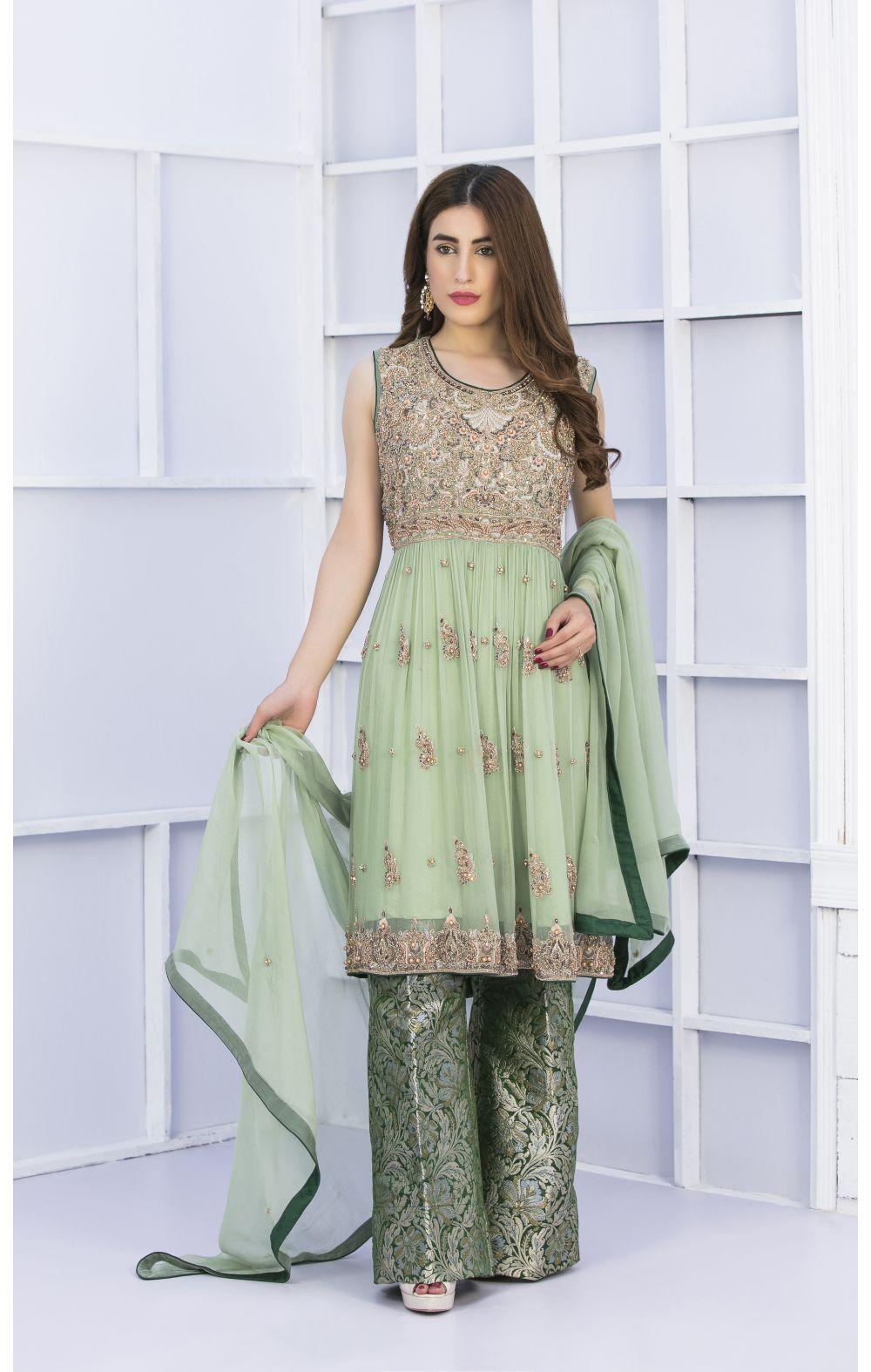Buy Exclusive Pista Green And Bottle Green Bridal Wear – G15127 Online In USA, Uk & Pakistan