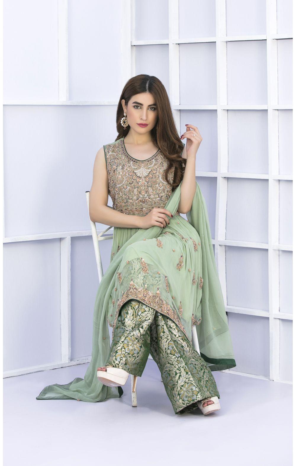 Buy Exclusive Pista Green And Bottle Green Bridal Wear – G15127 Online In USA, Uk & Pakistan - 02