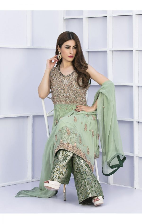 Buy Exclusive Pista Green And Bottle Green Bridal Wear – G15127 Online In USA, Uk & Pakistan - 03