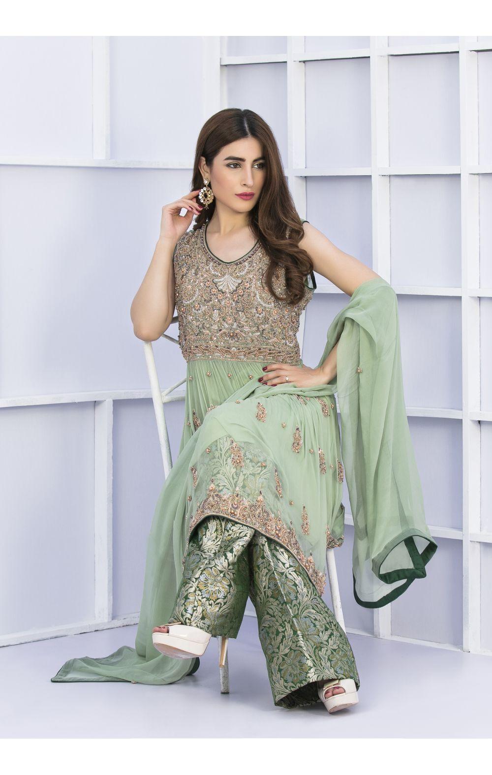 Buy Exclusive Pista Green And Bottle Green Bridal Wear – G15127 Online In USA, Uk & Pakistan - 03