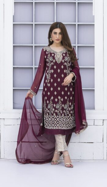 Buy Exclusive Purple And Silver Grey Bridal Wear – G15171 Online In USA, Uk & Pakistan - 03