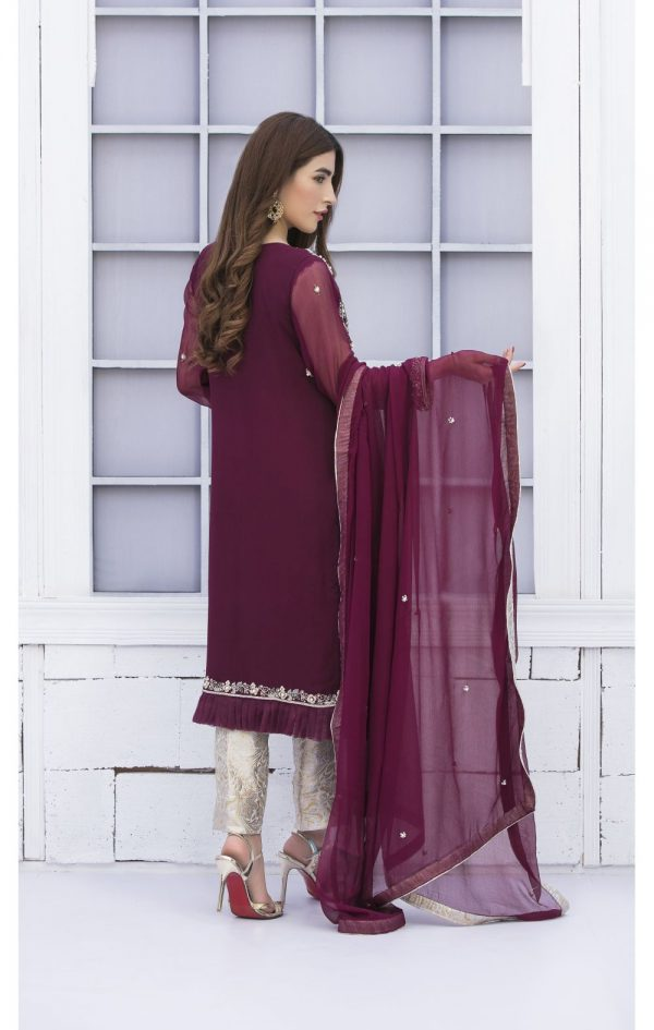 Buy Exclusive Purple And Silver Grey Bridal Wear – G15171 Online In USA, Uk & Pakistan - 01