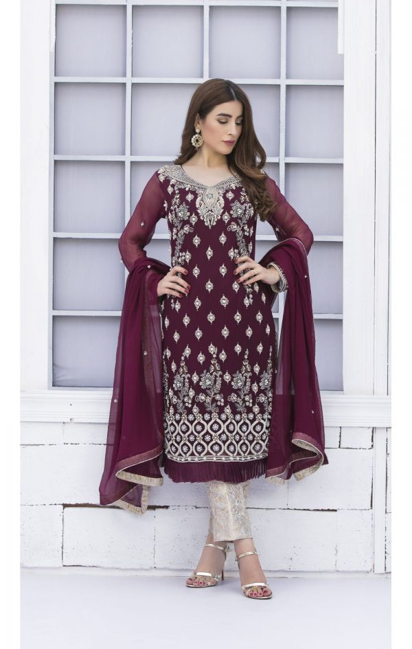 Buy Exclusive Purple And Silver Grey Bridal Wear – G15171 Online In USA, Uk & Pakistan