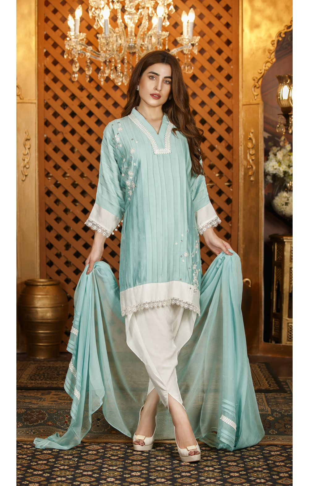 EXCLUSIVE AQUA GREEN AND WHITE PARTYWEAR - SDS97 - Exclusive Online ...