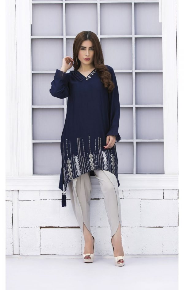 Buy Exclusive Navy Blue And Steel Grey Casual Wear – Sac2303 Online In USA, Uk & Pakistan - 03