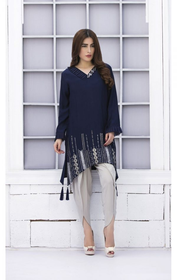 Buy Exclusive Navy Blue And Steel Grey Casual Wear – Sac2303 Online In USA, Uk & Pakistan - 01