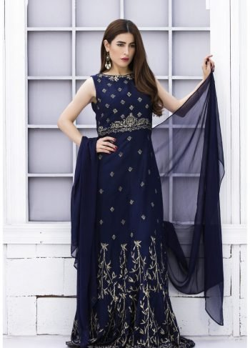Blue Khaadi Dress