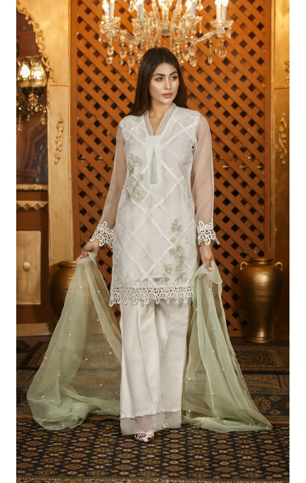 ceb434f198 Exclusive White And Pista Green Color Dress Sds88 Exclusive