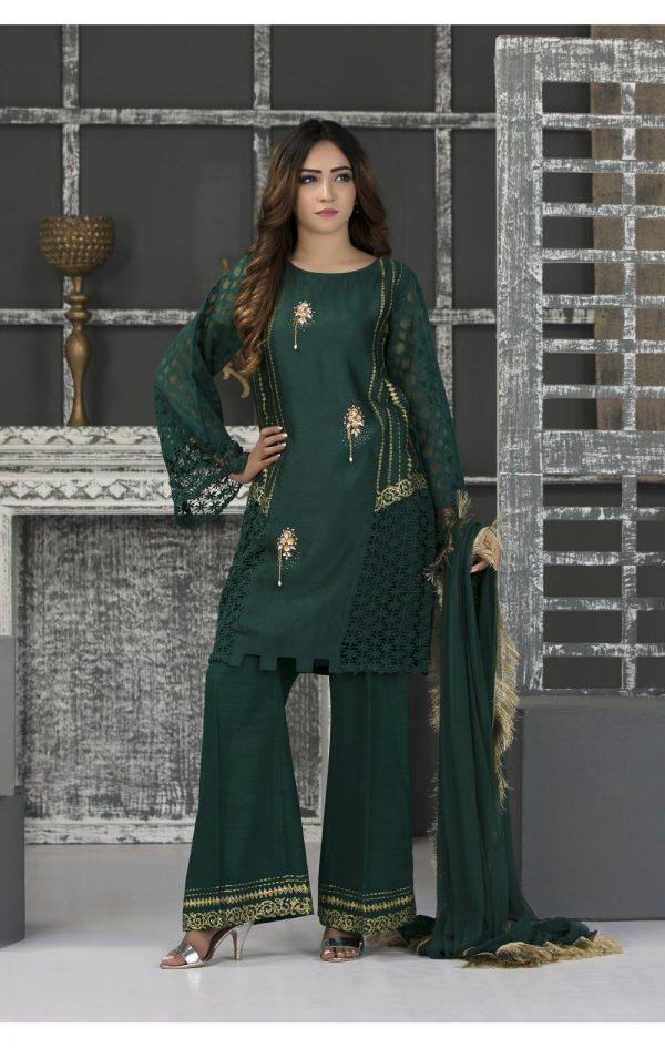 Buy Exclusive Bottle Green Casual Wear – Sac2341 Online In USA, Uk & Pakistan - 02