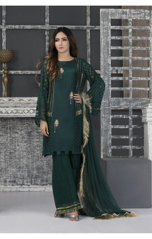 Buy Exclusive Bottle Green Casual Wear – Sac2341 Online In USA, Uk & Pakistan