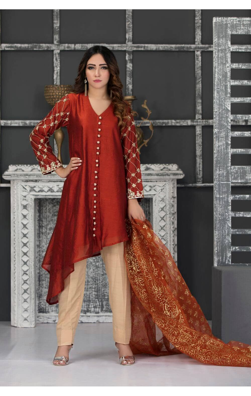 86dbabc4c0 RUST AND GOLD PARTY WEAR - SDS136 - Exclusive Online Boutique