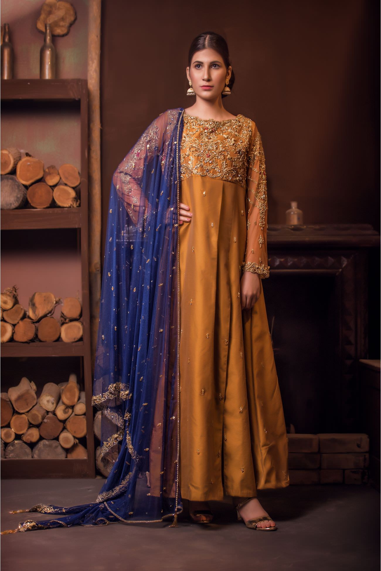 Buy Exclusive MUSAtard And Navy Blue Bridal Wear – Aqbd01 Online In USA, Uk & Pakistan - 04