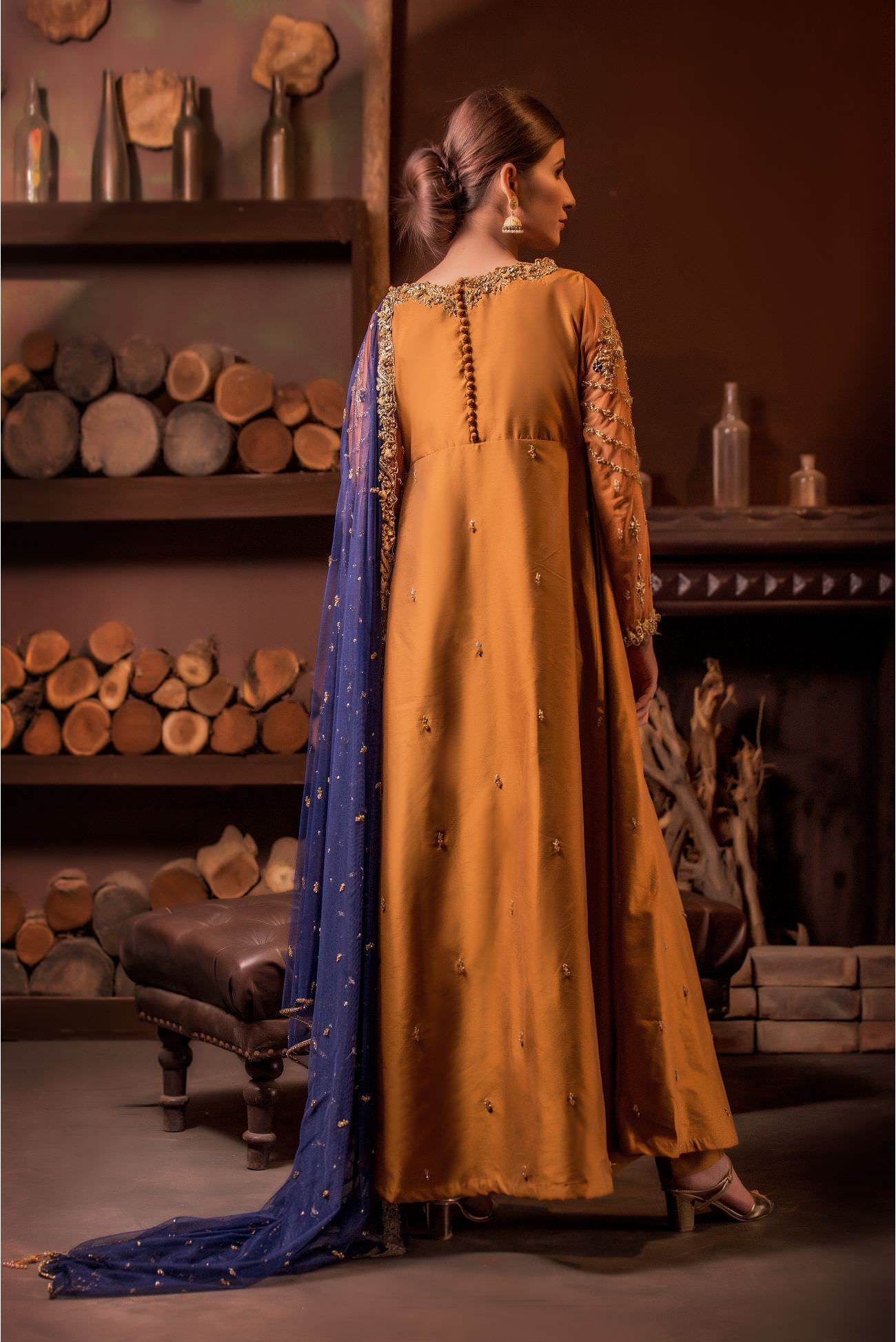 Buy Exclusive MUSAtard And Navy Blue Bridal Wear – Aqbd01 Online In USA, Uk & Pakistan - 03