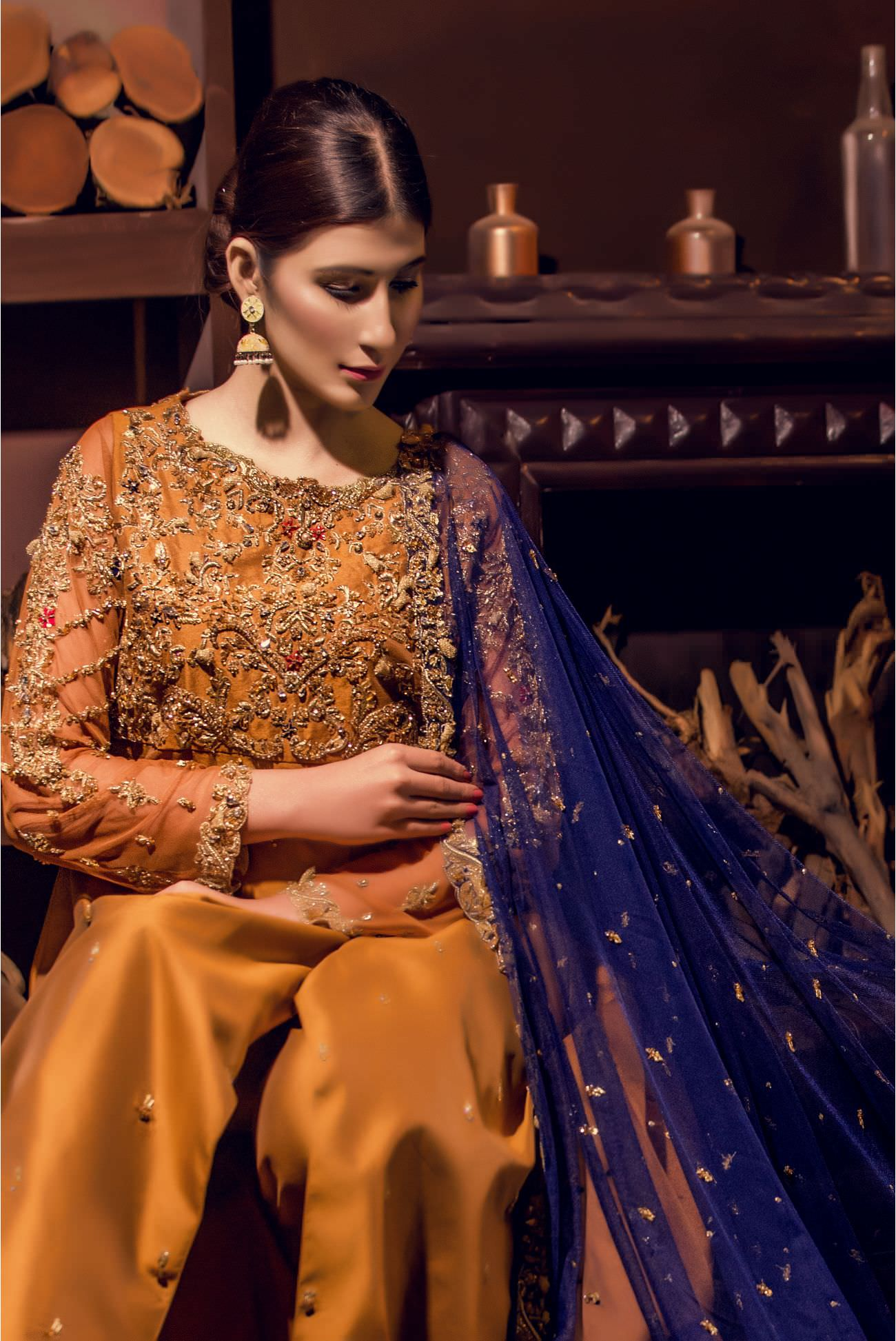 Buy Exclusive MUSAtard And Navy Blue Bridal Wear – Aqbd01 Online In USA, Uk & Pakistan - 02