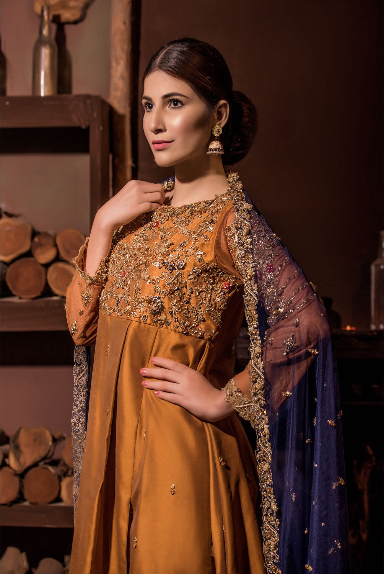 Buy Exclusive MUSAtard And Navy Blue Bridal Wear – Aqbd01 Online In USA, Uk & Pakistan - 01