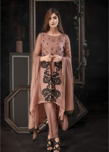 Buy Exclusive Dark Beige Luxury Pret – Aqs73 Online In USA, Uk & Pakistan - 02
