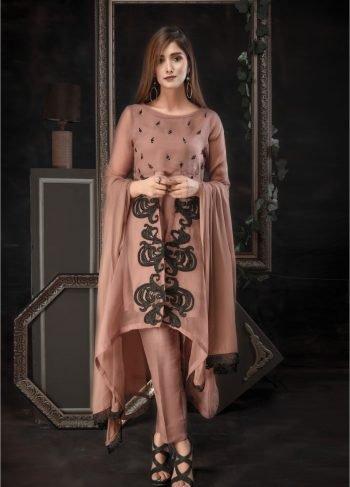 Buy Exclusive Dark Beige Luxury Pret – Aqs73 Online In USA, Uk & Pakistan - 02