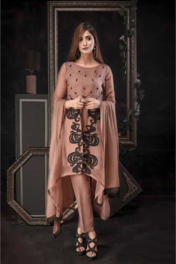 Buy Exclusive Dark Beige Luxury Pret – Aqs73 Online In USA, Uk & Pakistan