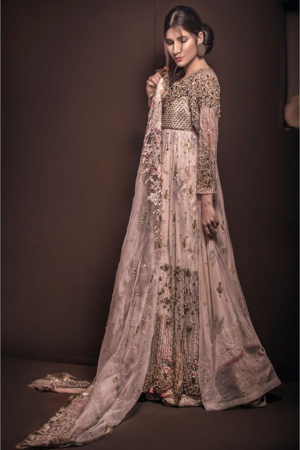 Buy Exclusive Light Pearl Peach Shadi And Valima Dress – Sabd208 Online In USA, Uk & Pakistan - 02
