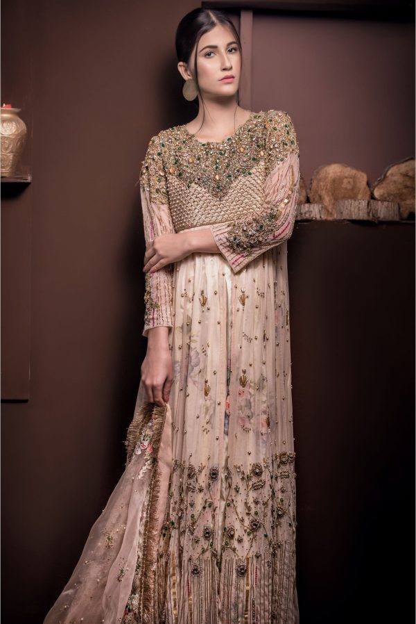 Buy Exclusive Light Pearl Peach Shadi And Valima Dress – Sabd208 Online In USA, Uk & Pakistan - 01