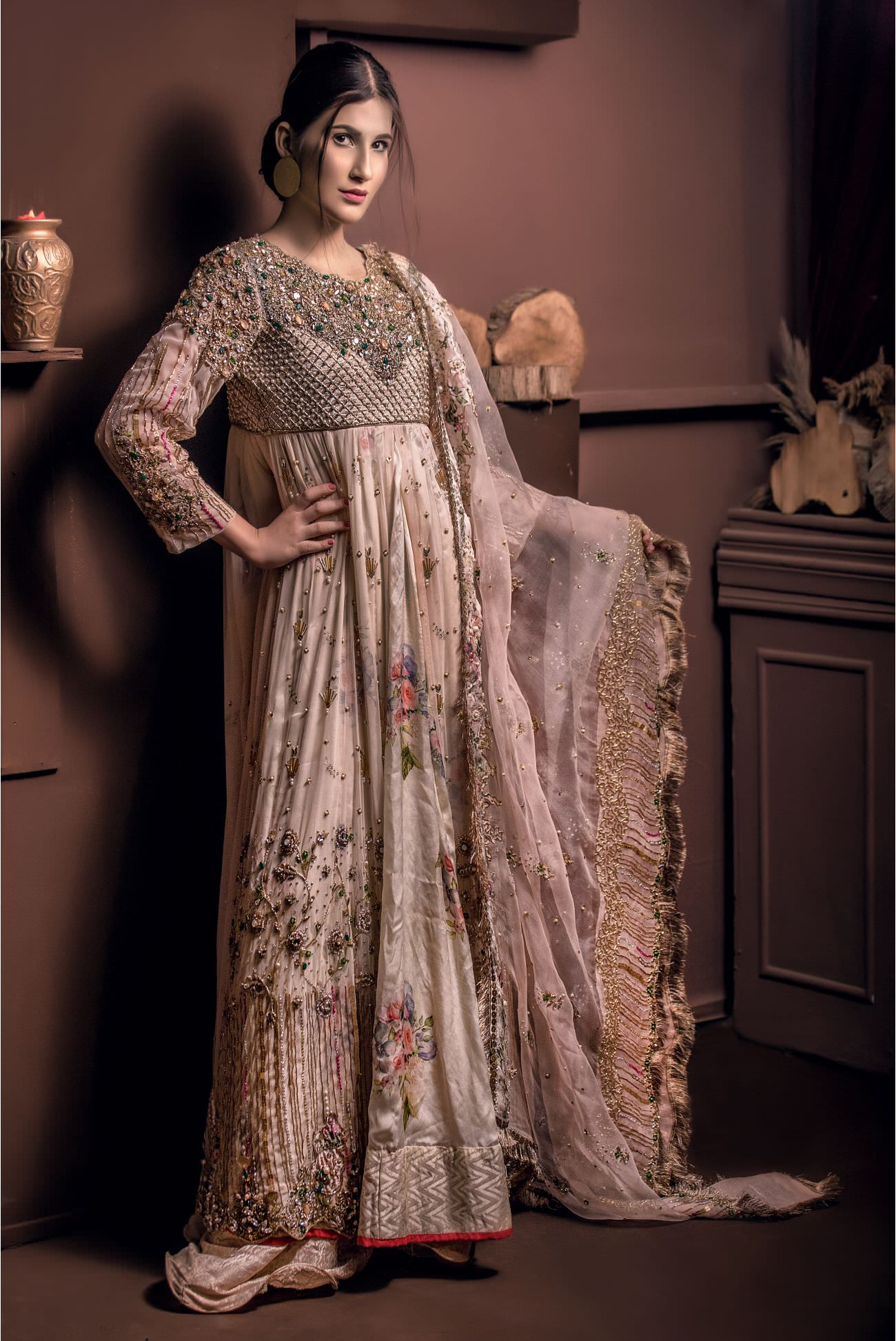 Buy Exclusive Light Pearl Peach Shadi And Valima Dress – Sabd208 Online In USA, Uk & Pakistan