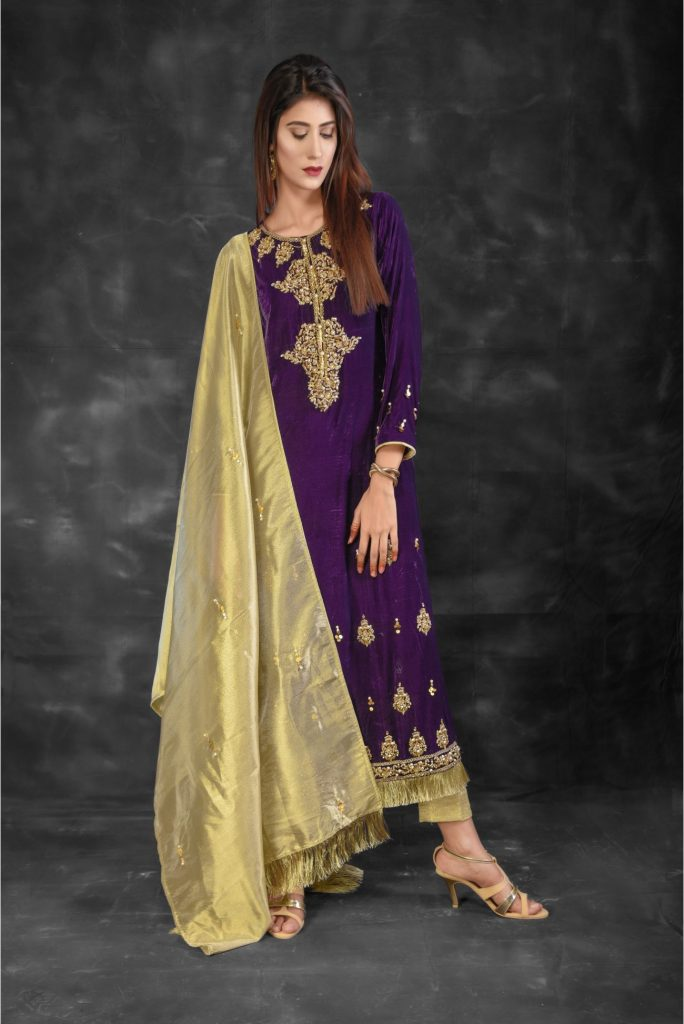 Buy Exclusive Purple And Golden Bridal Collection – Sabd220 Online In USA, Uk & Pakistan - 02