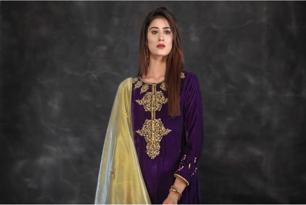 Buy Exclusive Purple And Golden Bridal Collection – Sabd220 Online In USA, Uk & Pakistan - 01