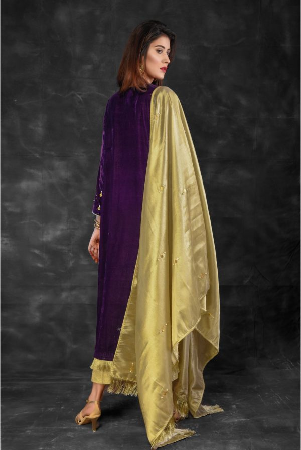 Buy Exclusive Purple And Golden Bridal Collection – Sabd220 Online In USA, Uk & Pakistan