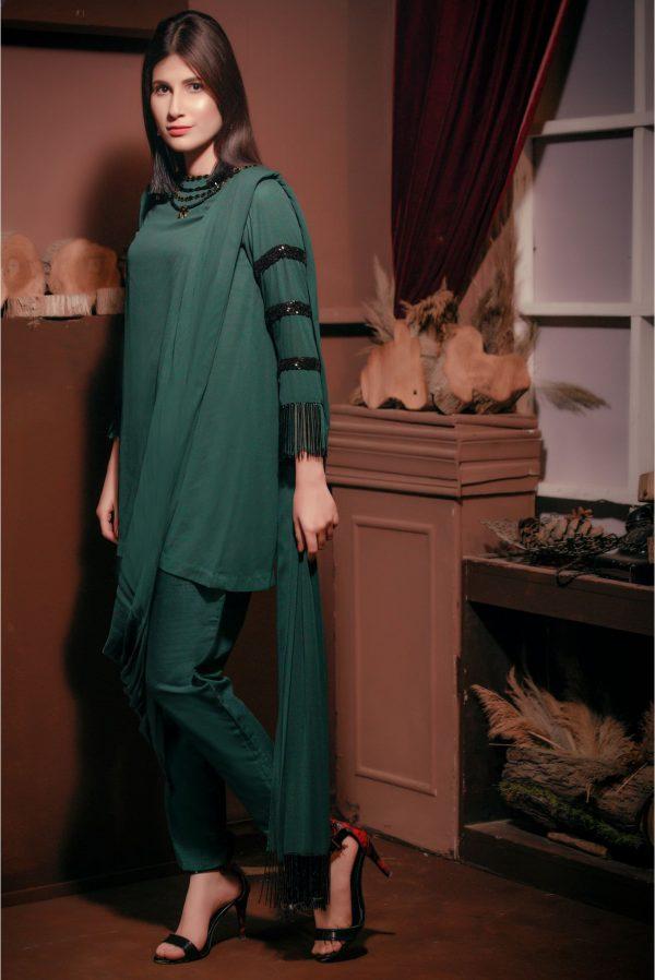 Green color dress