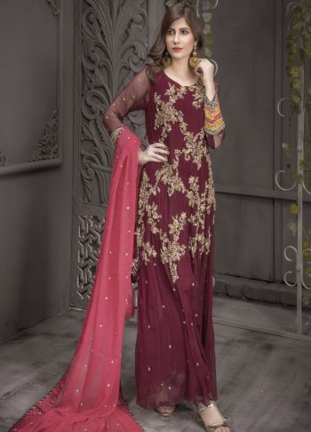 Buy Exclusive Plum And Pink Bridal Wear – Aqbd04 Online In USA, Uk & Pakistan