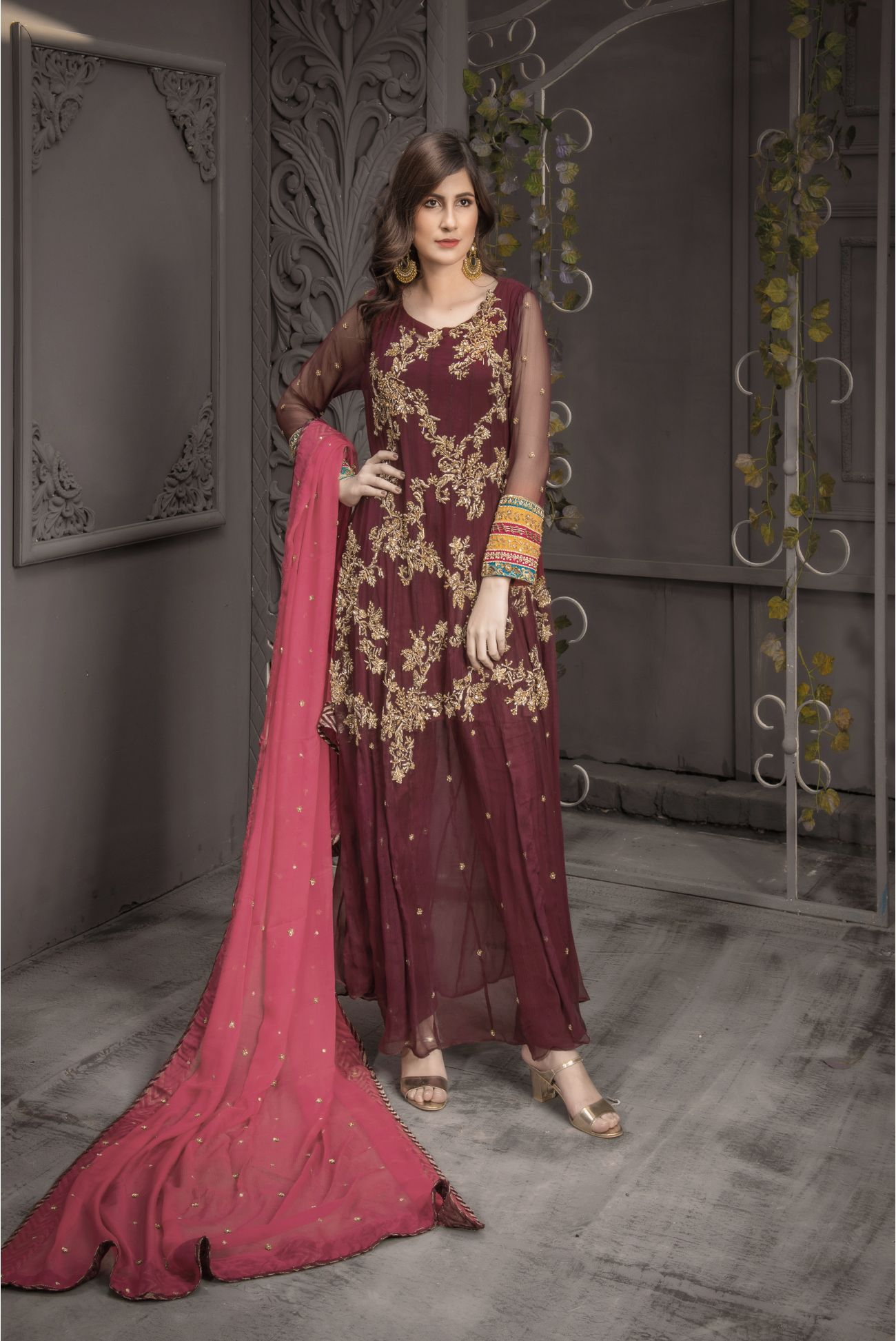 Buy Exclusive Plum And Pink Bridal Wear – Aqbd04 Online In USA, Uk & Pakistan - 01