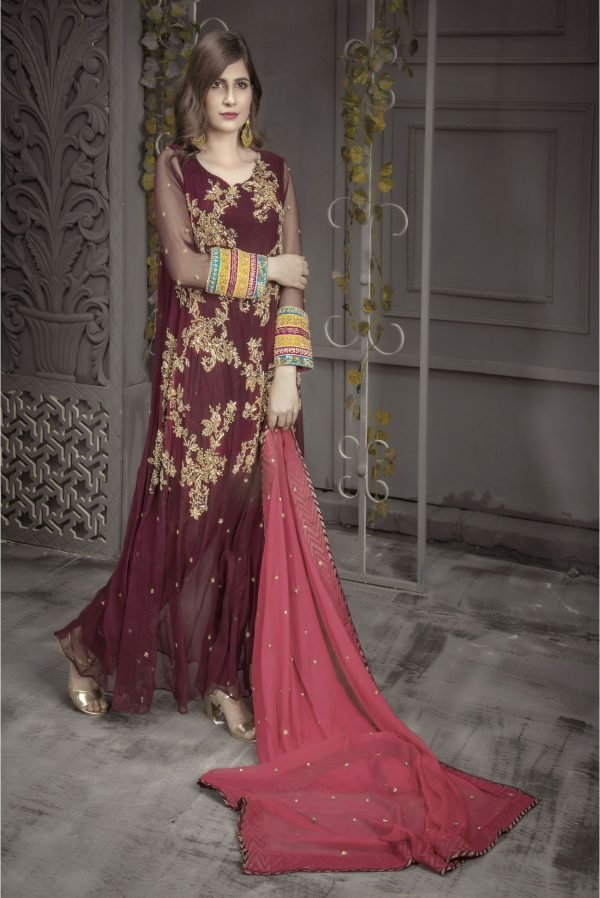 Buy Exclusive Plum And Pink Bridal Wear – Aqbd04 Online In USA, Uk & Pakistan - 02