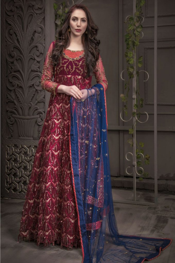 Buy Exclusive Maroon And Blue Bridal Wear – Aqbd05 Online In USA, Uk & Pakistan