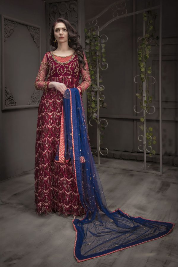 Buy Exclusive Maroon And Blue Bridal Wear – Aqbd05 Online In USA, Uk & Pakistan - 01