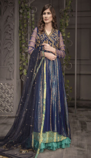 Buy Exclusive Navy Blue And Light Sea Green Bridal Wear – Aqbd06 Online In USA, Uk & Pakistan