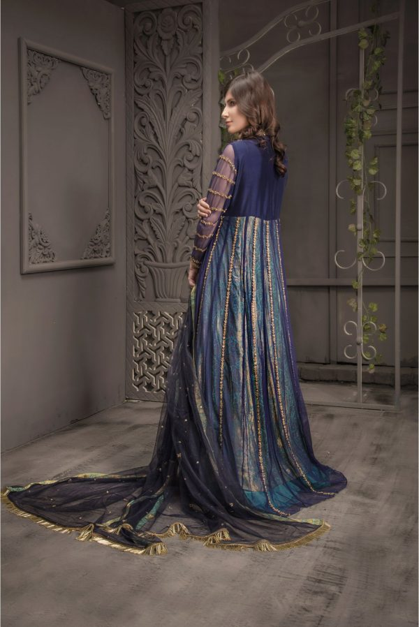 Buy Exclusive Navy Blue And Light Sea Green Bridal Wear – Aqbd06 Online In USA, Uk & Pakistan - 03