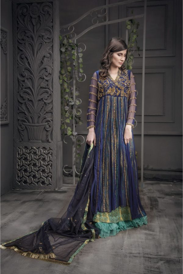 Buy Exclusive Navy Blue And Light Sea Green Bridal Wear – Aqbd06 Online In USA, Uk & Pakistan - 01