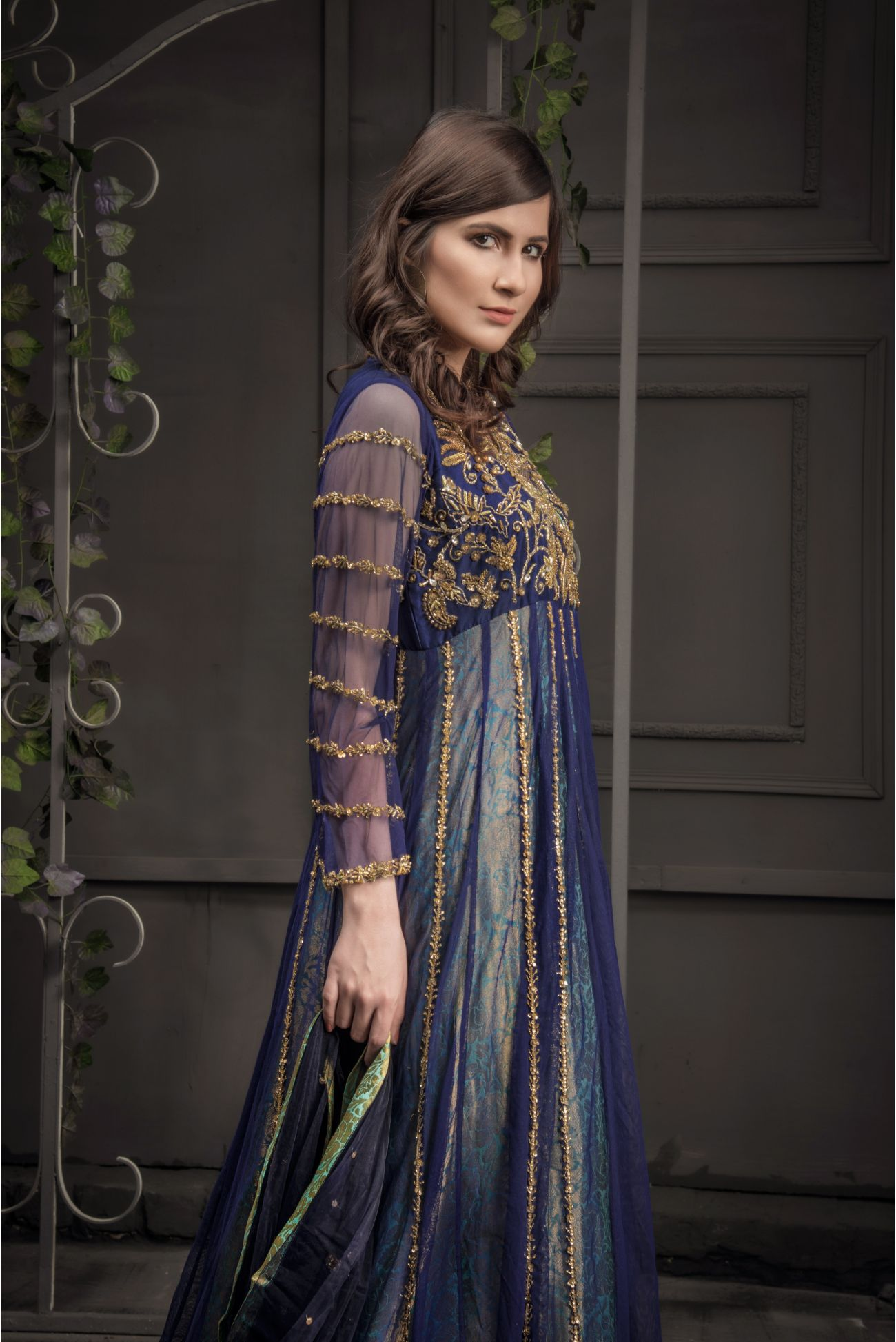 Buy Exclusive Navy Blue And Light Sea Green Bridal Wear – Aqbd06 Online In USA, Uk & Pakistan - 02