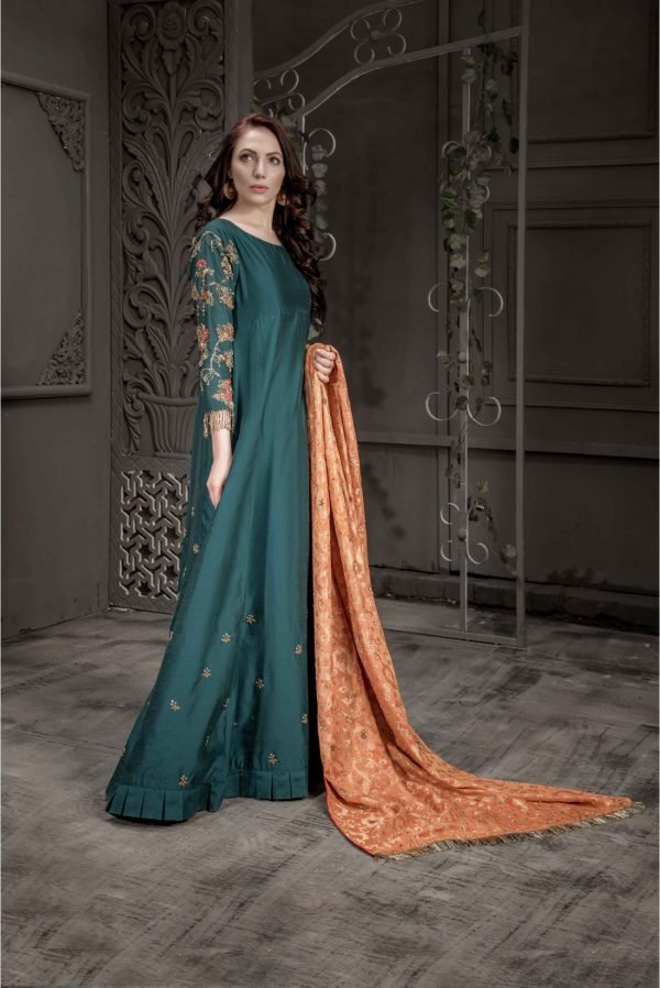 Buy Exclusive Teal Bridal Wear- Aqbd07 Online In USA, Uk & Pakistan - 01