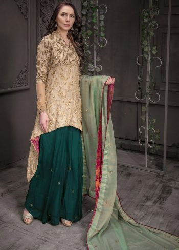 Buy Exclusive Golden And Sea Green Bridal Wear – Aqbd09 Online In USA, Uk & Pakistan