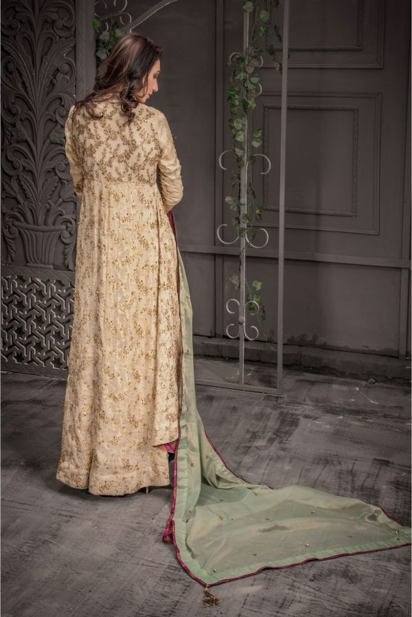 Buy Exclusive Golden And Sea Green Bridal Wear – Aqbd09 Online In USA, Uk & Pakistan - 04