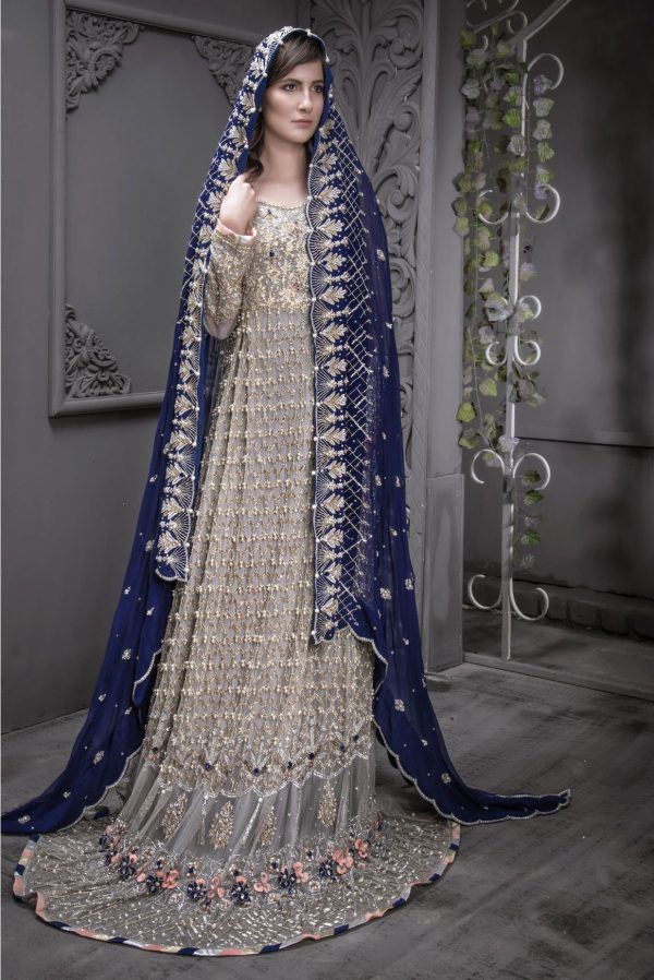Buy Exclusive Grey And Blue Shadi And Valima – Sabd207 Online In USA, Uk & Pakistan