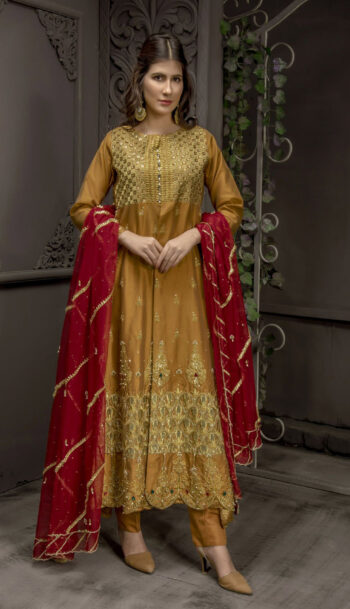 Buy Exclusive MUSAtard And Maroon Bridal Wear – Sabd218 Online In USA, Uk & Pakistan