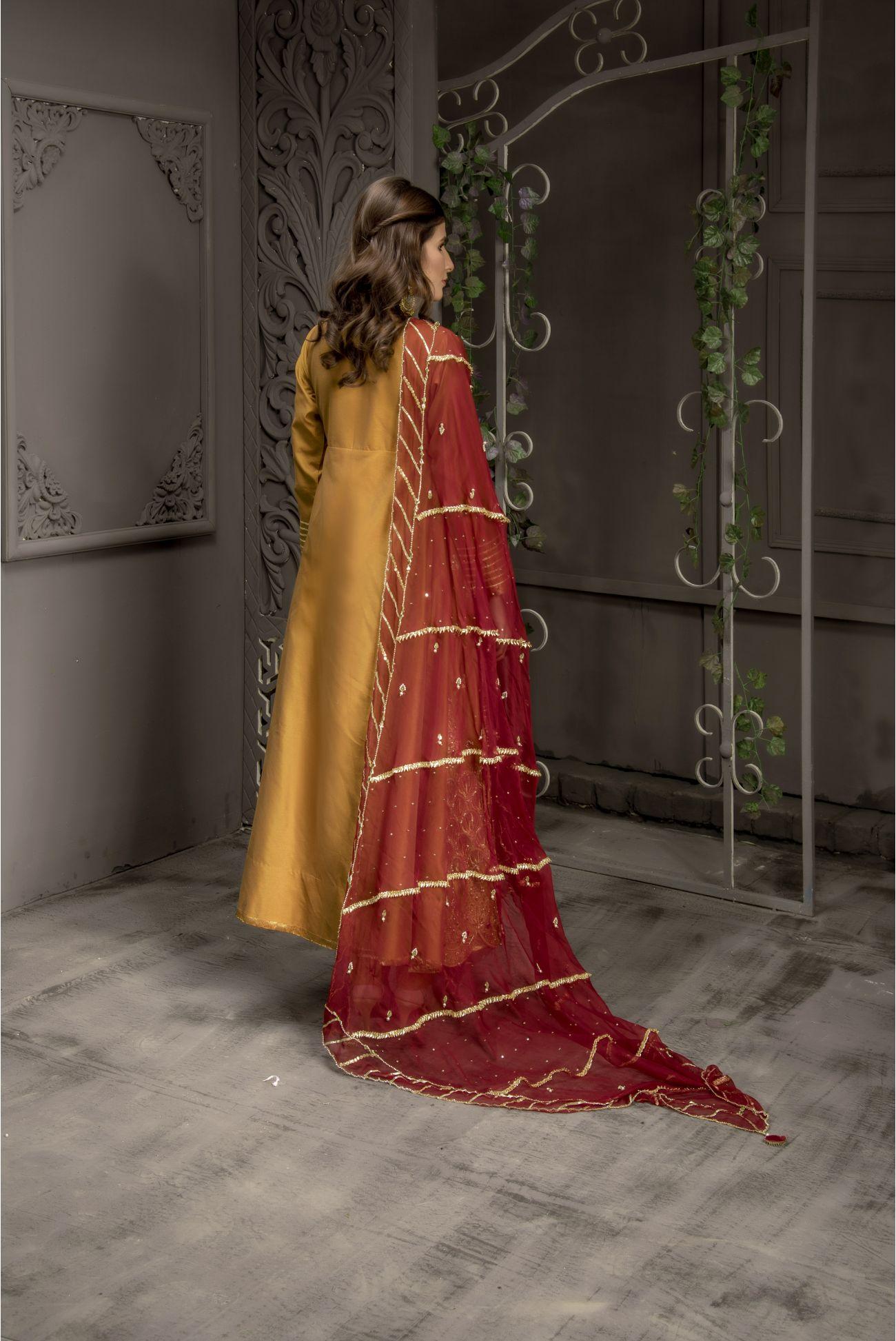 Buy Exclusive MUSAtard And Maroon Bridal Wear – Sabd218 Online In USA, Uk & Pakistan - 03