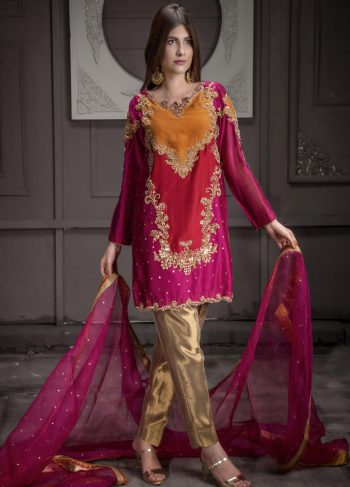 Buy Exclusive Hot Pink,Red And RUSAt Bridal Wear – Sdbd11 Online In USA, Uk & Pakistan